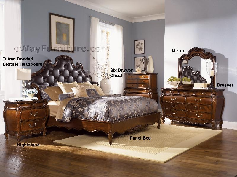 Royal Orleans Tufted Leather Platform Bedroom Set
