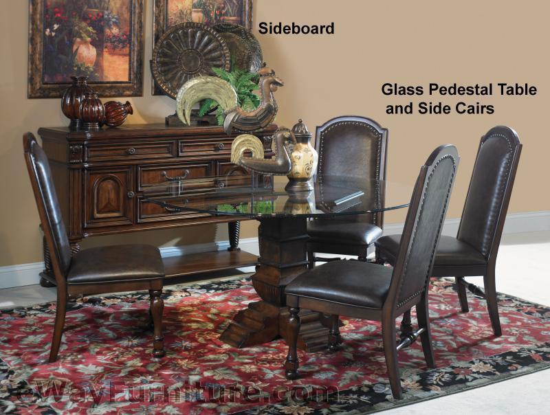 hacienda round glass dining room table set