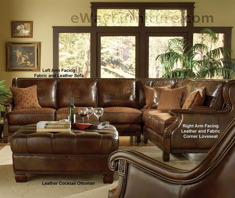 Fabric And Leather Sofas: Avebury Manor Leather And Fabric Sectional Sofa
