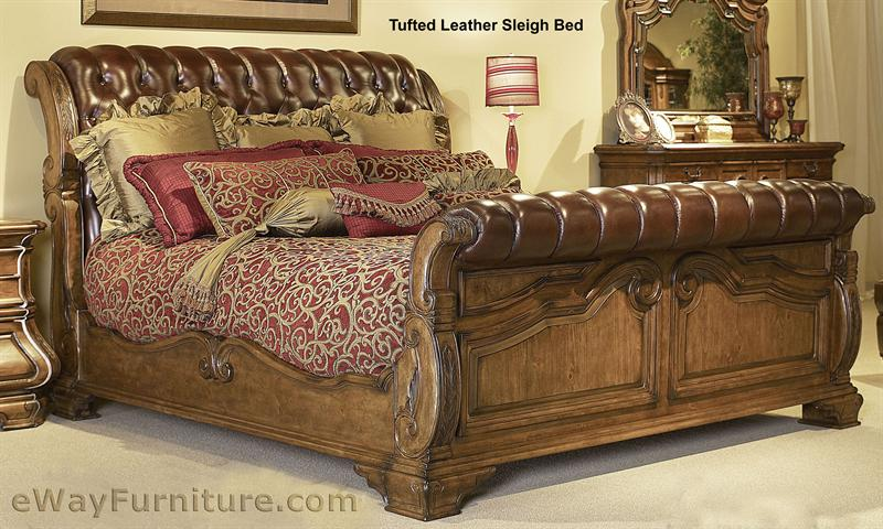 Tufted Leather Sleigh Bed King Ai34 Ksb