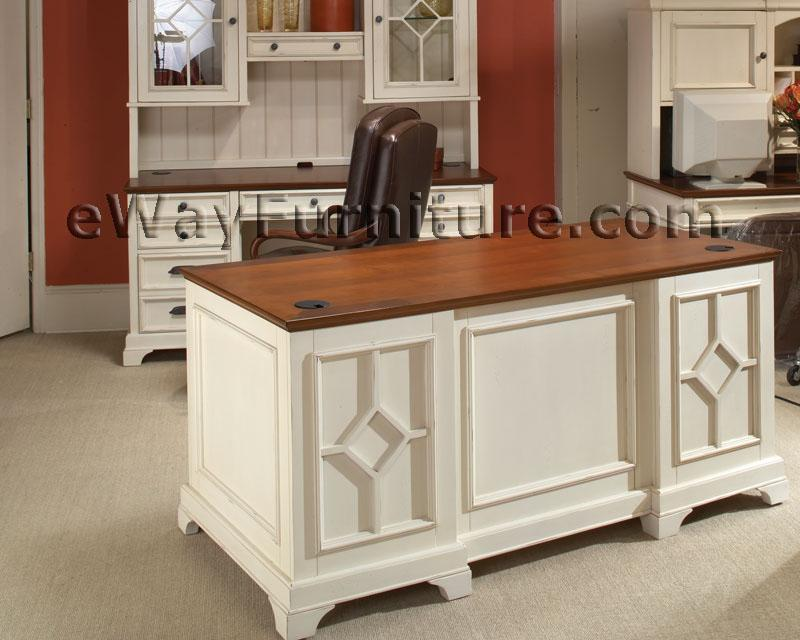 Distressed white 66 inch executive home office desk - Antique white home office furniture ...