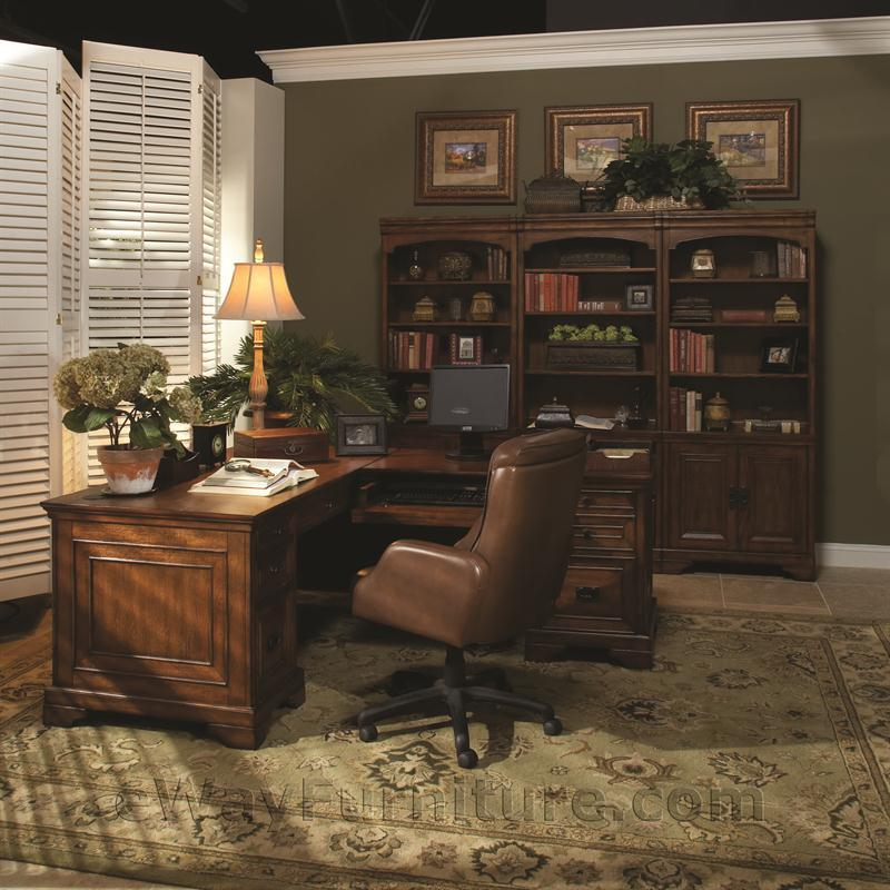 Rustic Americana Hardwood Executive Desk Home Office: Old World L-Shaped Home Office Computer Desk And Return