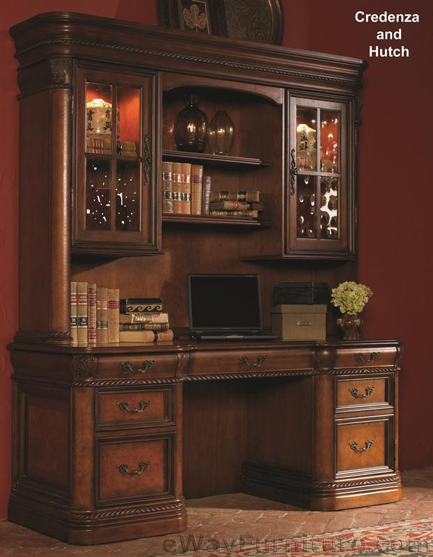 Pleasant Details About Vineyard Credenza Desk With Hutch Office Computer Wood Furniture Cherry Finish Home Interior And Landscaping Ologienasavecom