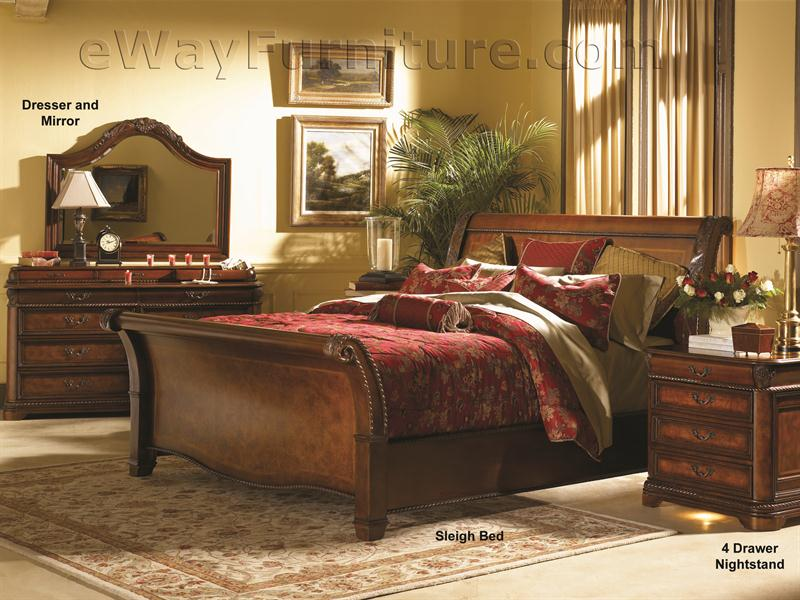 Davis Direct Monaco Traditional King Sleigh Bed With Diamond