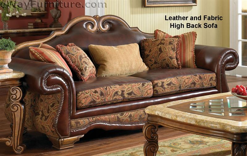 Giovanna Brick High Back Leather and Fabric Sofa