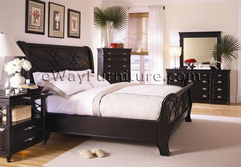 American federal black sleigh bedroom set for American bedrooms