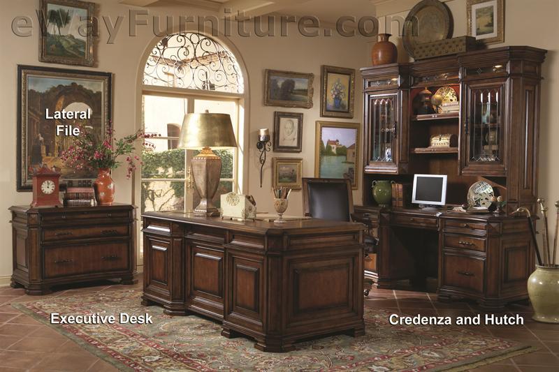 Warm Cherry Executive Desk Home Office Collection: Italian Renaissance Executive Office Desk