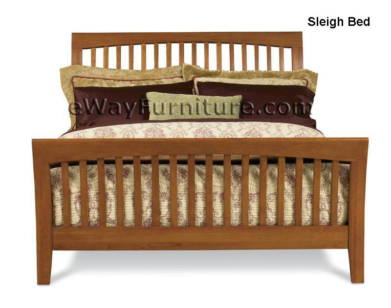 solid cherry wood sleigh bed