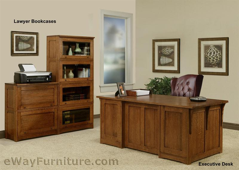 All Wood Office Furniture ~ Solid oak wood mission home office executive desk