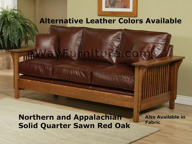 Perfect American Made Mission Style Rift And Quarter Sawn Oak Leather Sofa  Collection