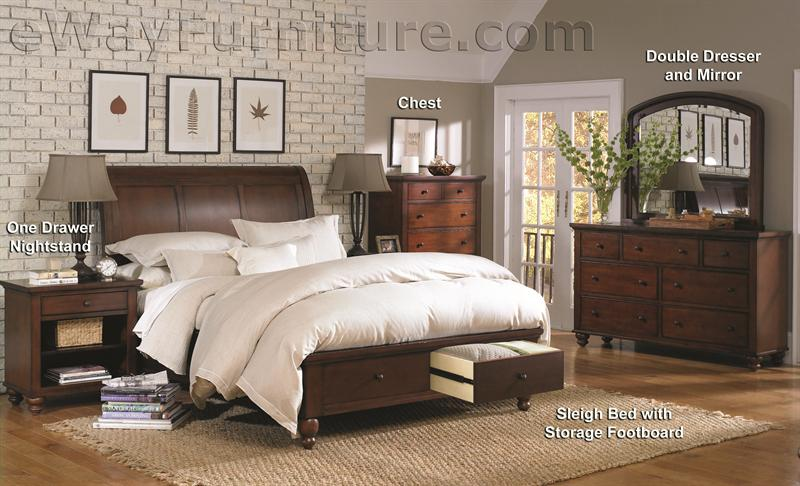 Aspenhome Warm Cherry Executive Modular Home Office: Romantic Simplicity Brown Cherry Storage Sleigh Bedroom Set