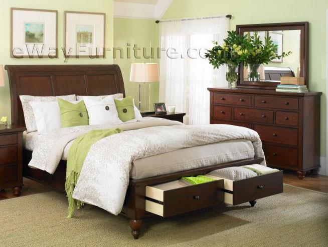 romantic simplicity brown cherry storage sleigh bedroom set