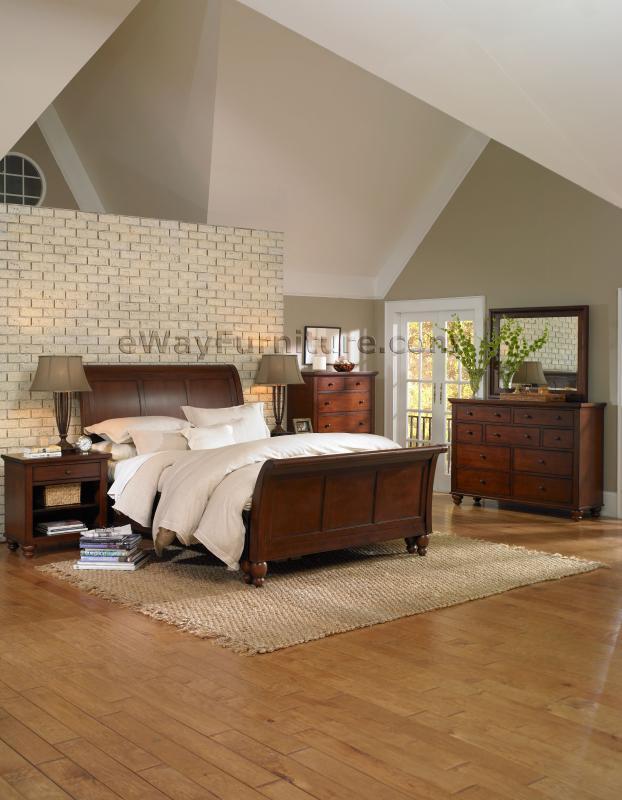 romantic simplicity brown cherry sleigh bedroom set