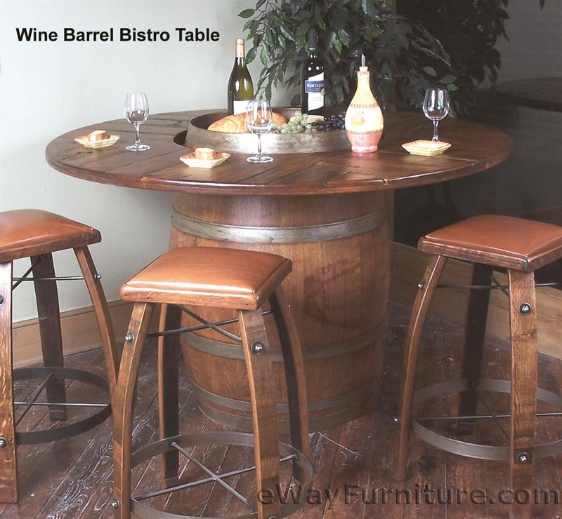 Oak Wine Barrel Bistro Table Set - Bistro table set