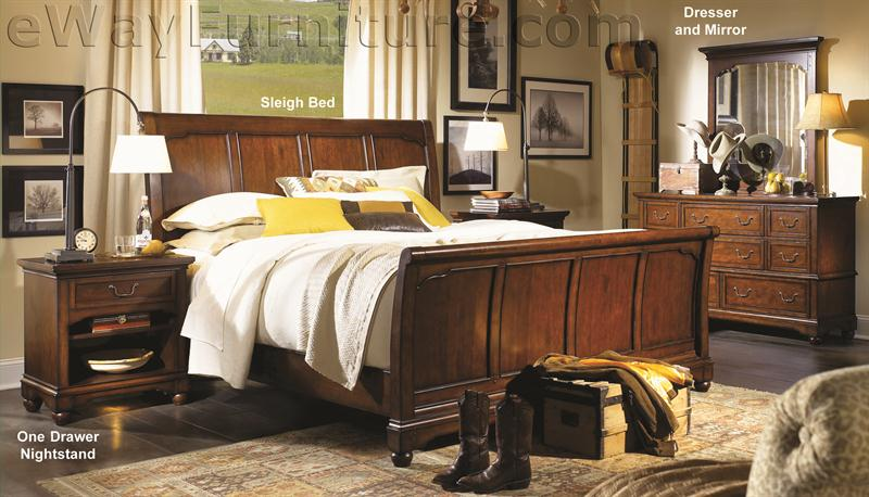 Aspenhome Warm Cherry Executive Modular Home Office: Heritage Cherry Sleigh Bed Bedroom Set