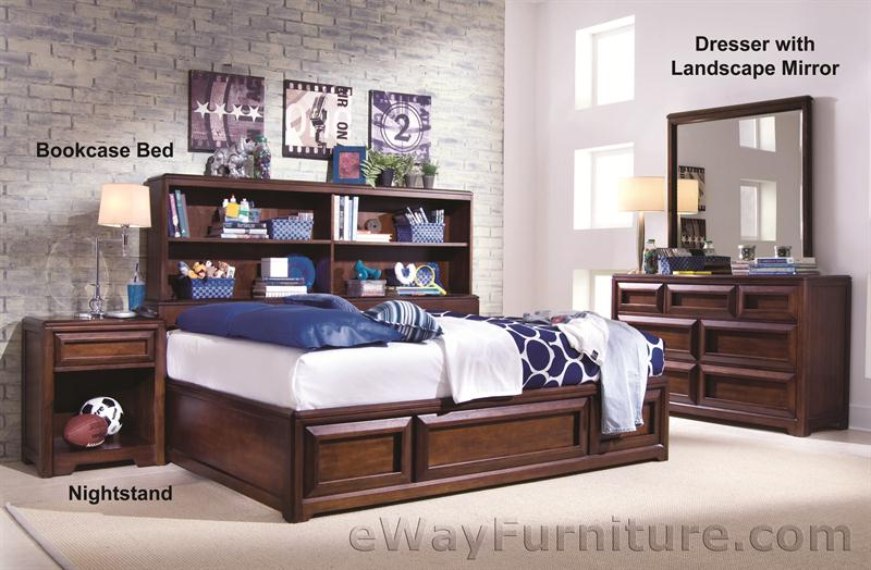 Design essentials bookcase bed bedroom set for Bedroom furniture essentials