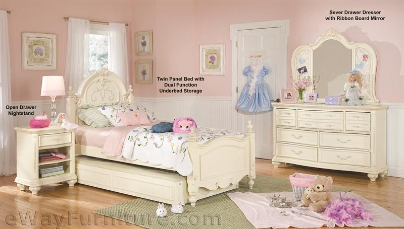 Vintage White Panel Bed Childrens Bedroom Set
