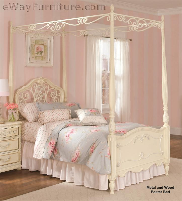 Vintage White Wood and Metal Childrens Canopy Bed Bedroom Set