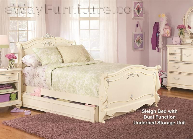 Vintage White Sleigh Bed Children\'s Bedroom Set