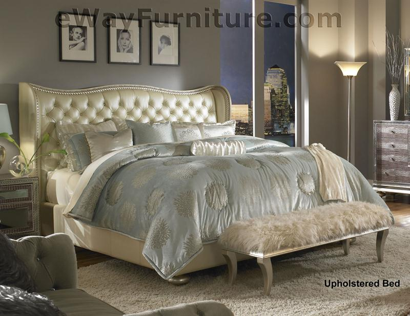 creamy pearl tufted white leather and crystal bedroom set. Black Bedroom Furniture Sets. Home Design Ideas