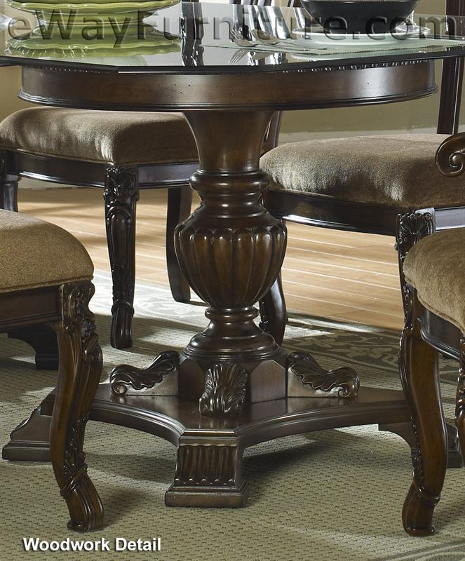 "60"" Round Glass Top Pedestal Dining Table-FD01-GPT"