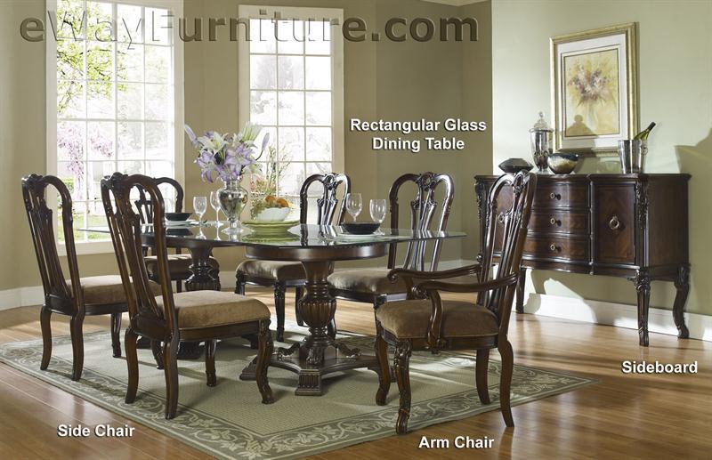 96 rectangular glass top double pedestal dining table fdc4 rgpt. Black Bedroom Furniture Sets. Home Design Ideas