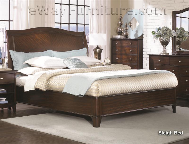Metropolitan Mahogany Sleigh Platform Bed Bedroom Set