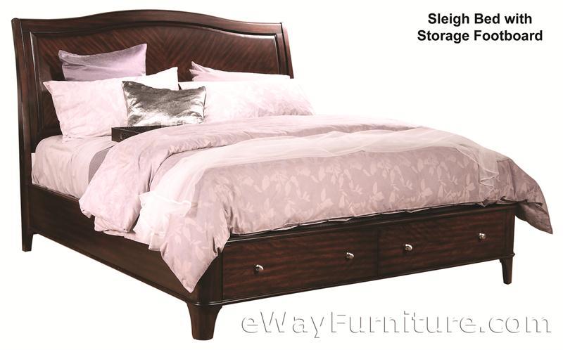 Aspenhome Warm Cherry Executive Modular Home Office: Metropolitan Mahogany Storage Platform Sleigh Bed Bedroom Set