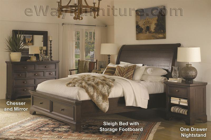 . New Country Solid Wood Storage Sleigh Bed Bedroom Set