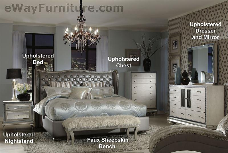 Metallic Graphite Tufted Leather And Crystal Bed