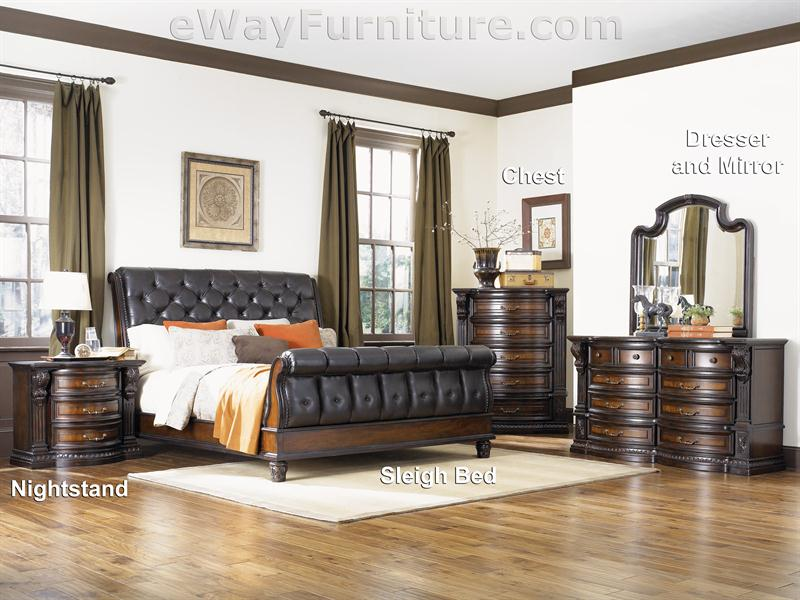 Grand Chateau Tufted Sleigh Bed Bedroom Set