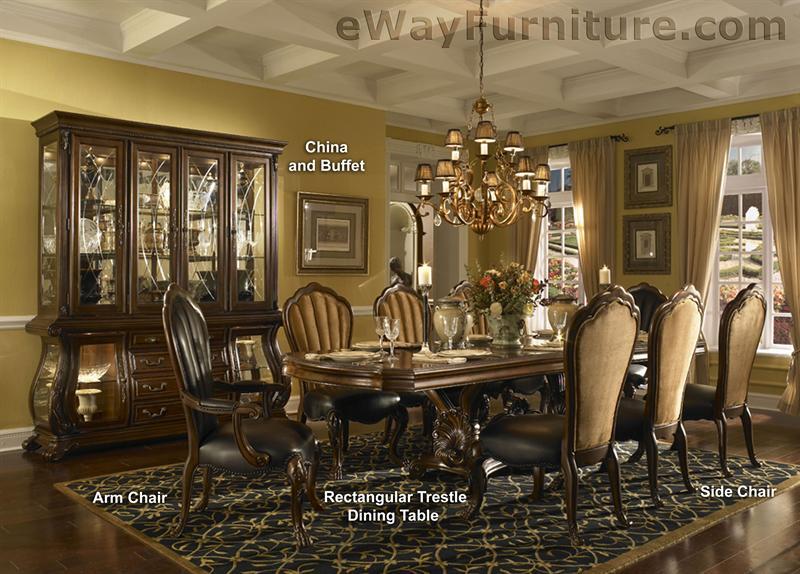 Palace gates rectangular trestle dining room table set for Trestle dining room sets