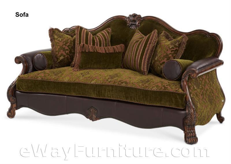 Palace Gates Wood Trim Fabric And Leather Sofa
