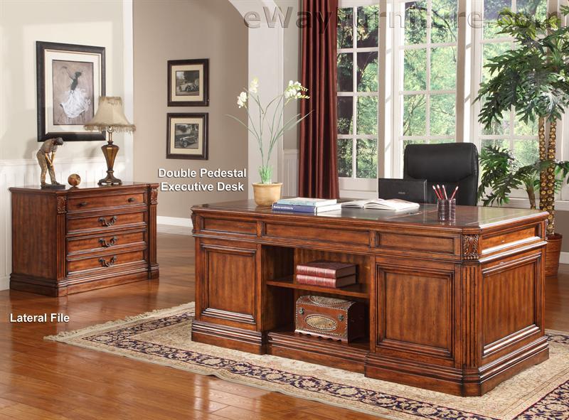 The Downing Street Executive Curio Desk: Grand Manor Granada Double Pedestal Executive Desk Home