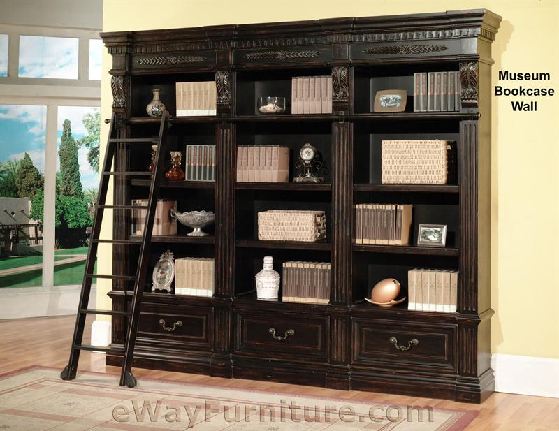 nice wood desk and bookcase