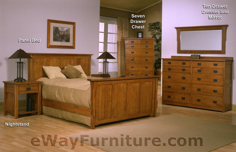 solid oak mission panel bedroom set