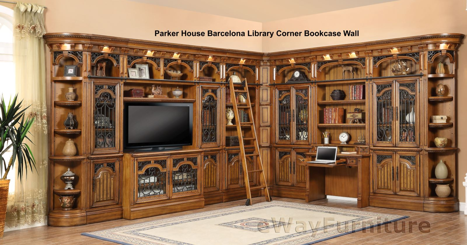 Parker house barcelona library corner bookcase wall for House to home furniture