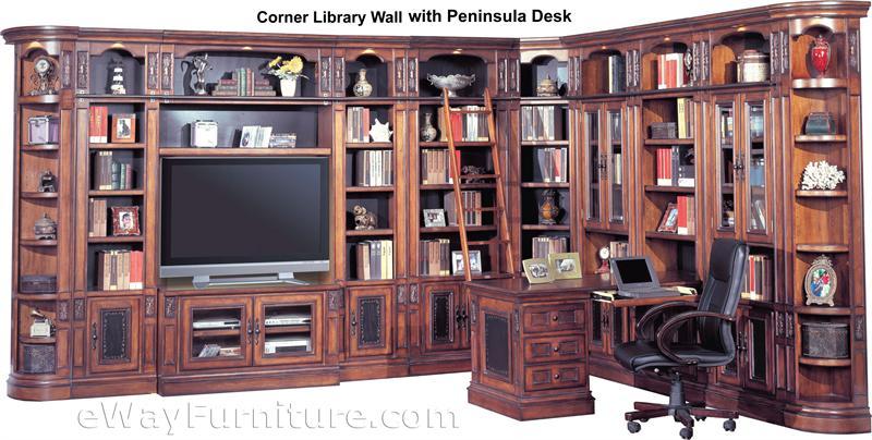 Parker House Davinci Corner Library Wall With Peninsula Desk