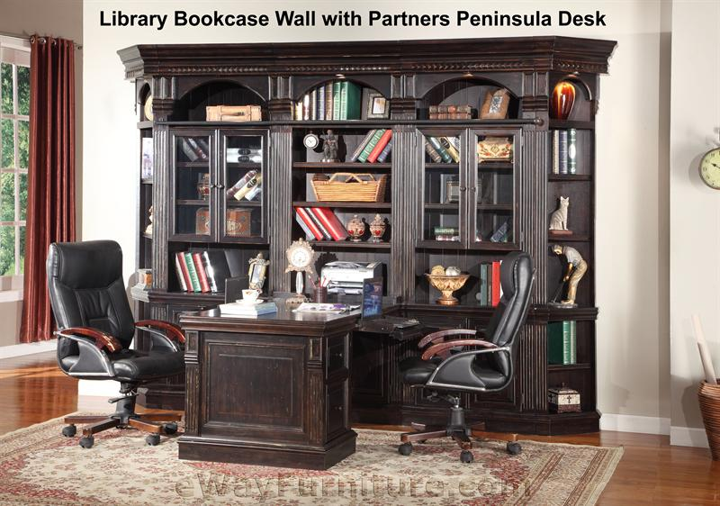 Parker House Venezia Library Bookcase Wall With Partners Peninsula Desk