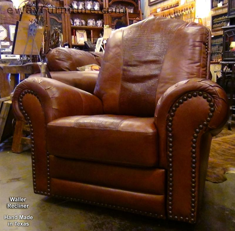 100% Hand Cut Top Grain Leather Recliner Made In USA Texas
