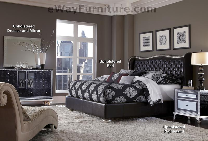 Starry Night Tufted Black Leather and Crystal Bedroom Set