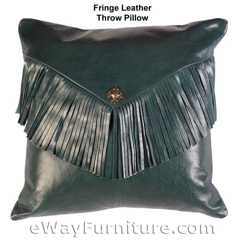 Leather Fringe Throw Pillow Wrma 1443