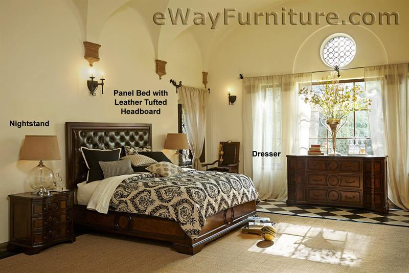 Bella Cera Panel Bed with Leather Tufted Headboard Bedroom Set