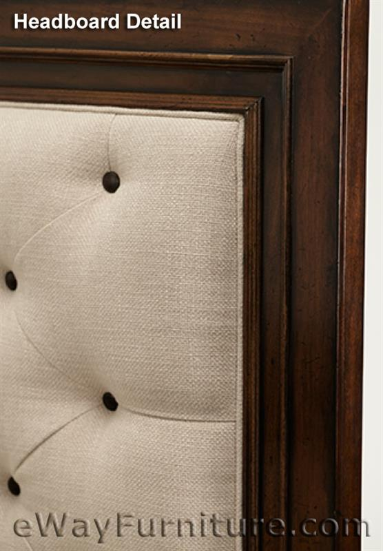 bella cera panel bed with fabric tufted headboard