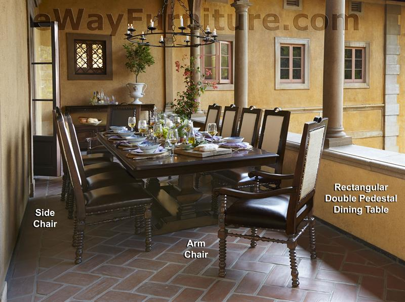 Bella Cera Rectangular Double Pedestal Dining Table Set