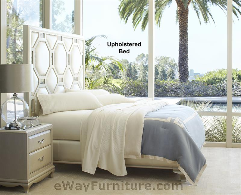 After Eight Upholstered Bed in Creamy Pearl Bedroom Set