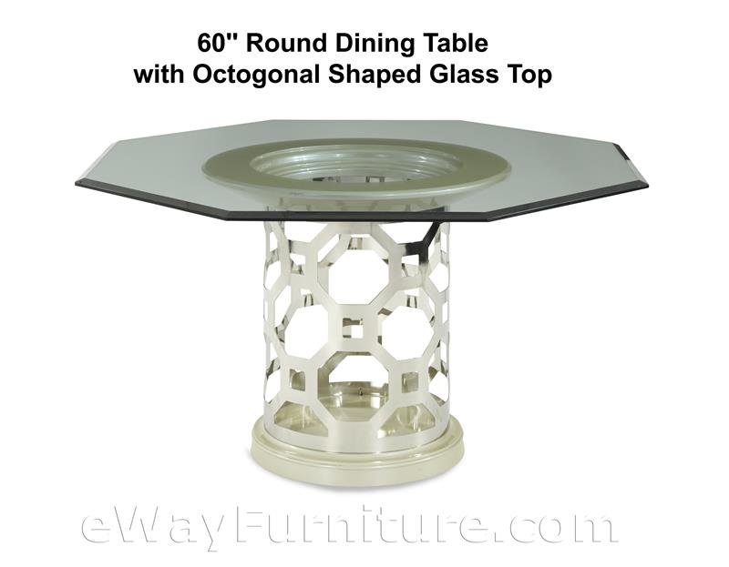 60 Round Dining Table With Octagonal Shaped Glass Top In