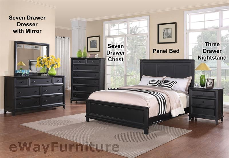 Woodstock black panel bedroom set for All black bedroom furniture