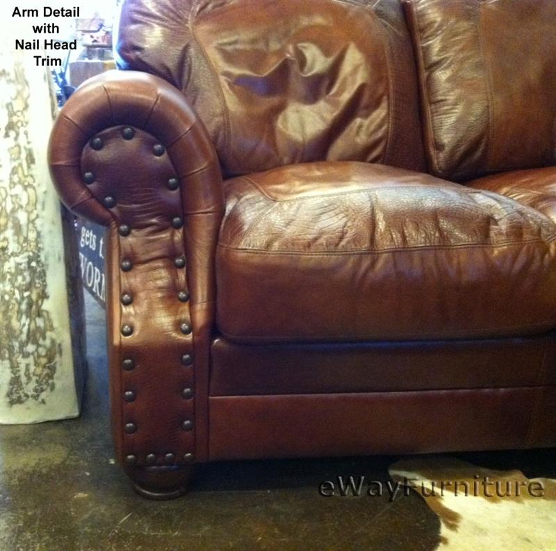 Two Toned Top Grain Leather Cowboy Sofa