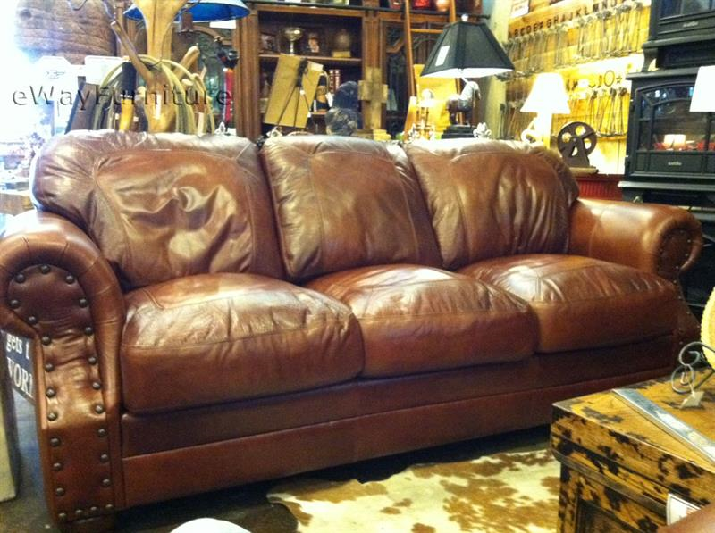& Two Toned Top Grain Leather Cowboy Sofa islam-shia.org